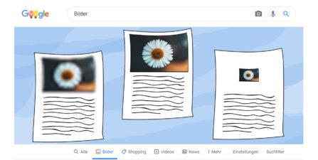 Bildausschnitt eines Google-Bilder-Rankings in unterschiedlichen Darstellungen